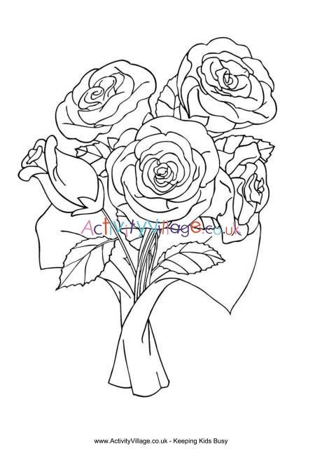 Bunch of Roses Colouring Page Activity Village