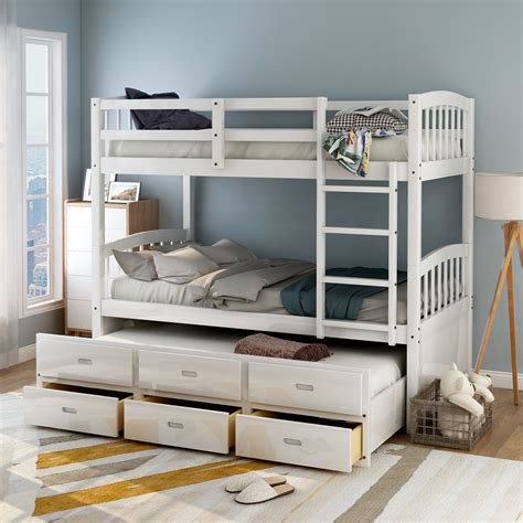 Bunk Bed With Trundle White Twin Transitional Bunk