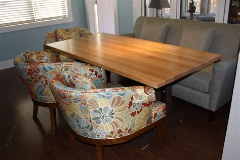 Butcher block dining room table and two chairs furniture