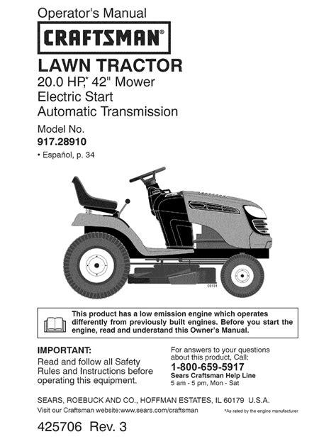 craftsman 18 hp lawn tractor wiring diagram images for john deere craftsman 28910 lt 2000 20 hp 42 lawn tractor operation