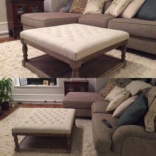 Cairona Cream Tufted Fabric 34 inch Shelved Ottoman