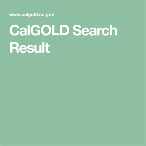CalGOLD Search Result