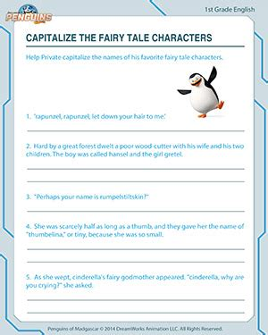 Capitalize the Fairy Tale Characters Free 1st Grade