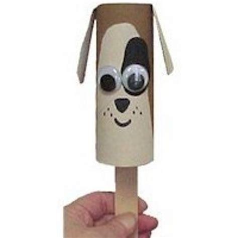 Cardboard Tube Puppy Puppet Free Kids Crafts