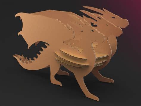 Cardboard dragon 3D CAD model GrabCAD