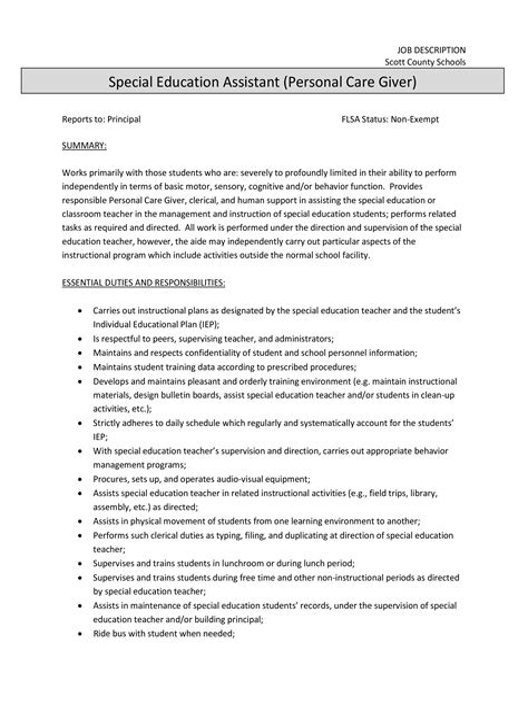 Caregiver Job Description Job Descriptions