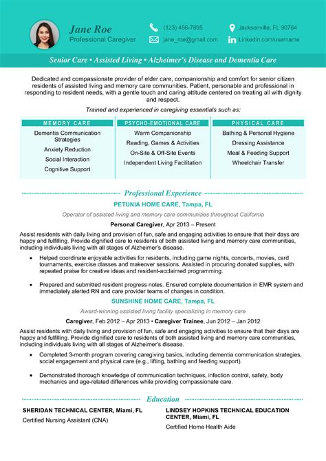 Caregiver Jobs Example of Caregiver Resume Samples
