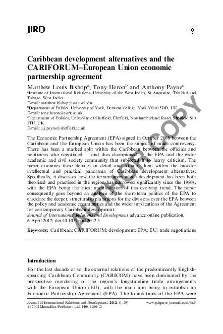 Caribbean development alternatives and the CARIFORUM