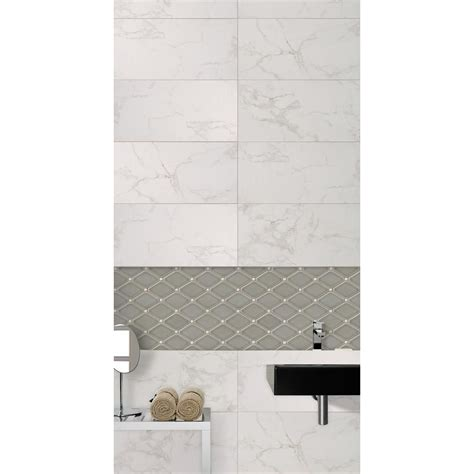 Carrara 12 in x 24 in Glazed Porcelain Floor and Wall