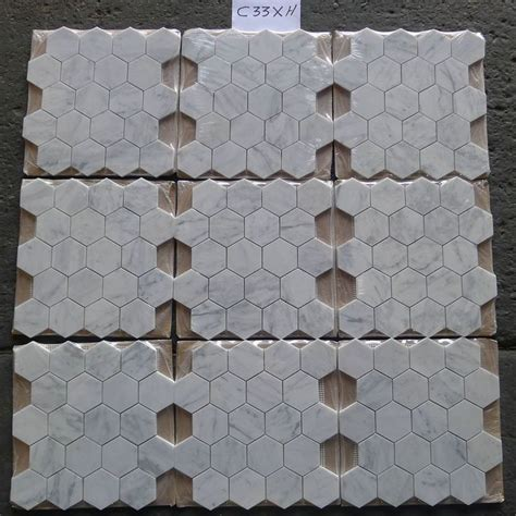 Carrara White 3 inch Hexagon Mosaic Tile Honed Marble