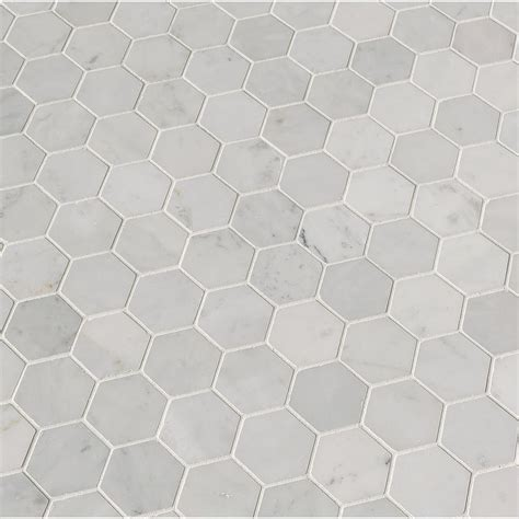Carrara White Hexagon 12 in x 12 in x The Home Depot