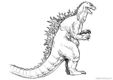 Cartoon Animated Godzilla Coloring Page Godzilla