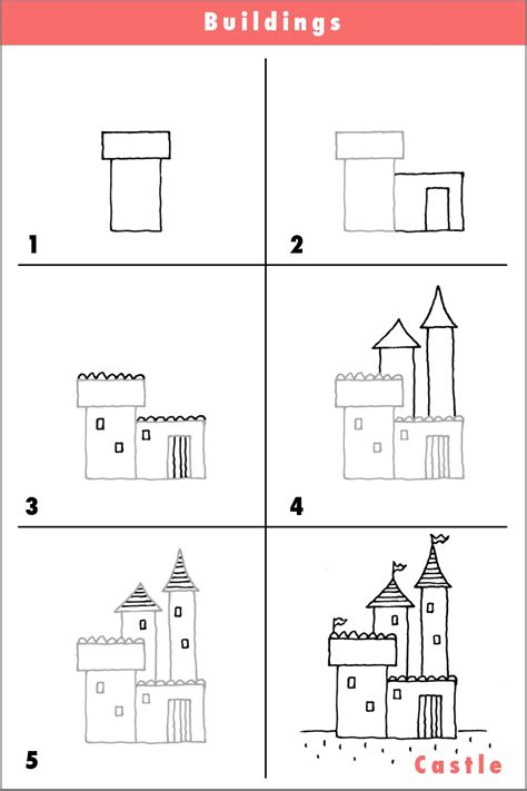 Cartoon Castle Step by Step Drawing Lesson How to Draw