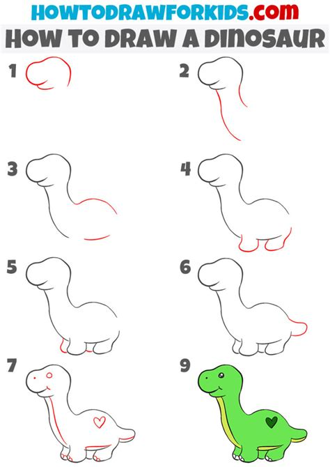 Cartoon Dinosaur Step by Step Drawing Lesson