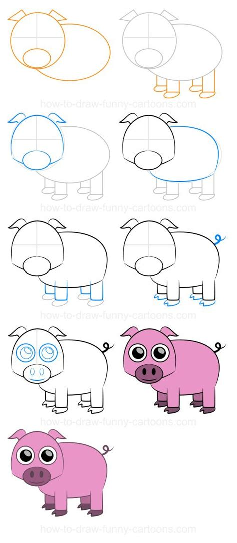 Cartoon Pigs Step by Step Drawing Lesson how to draw