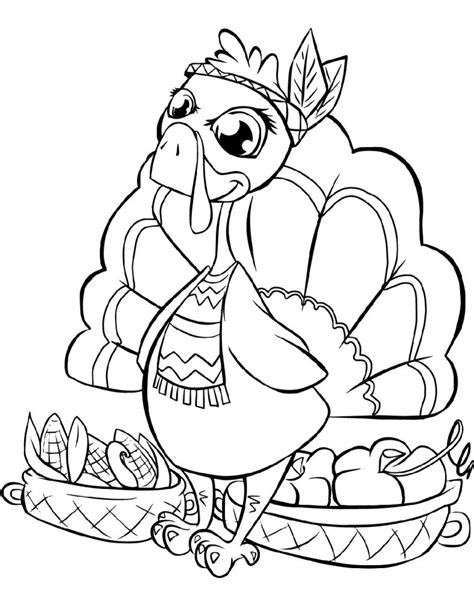 Cartoon Turkey Thanksgiving Free Colouring Pages from