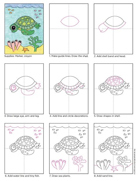 Cartoon Turtle Step by Step Drawing Lesson How to Draw