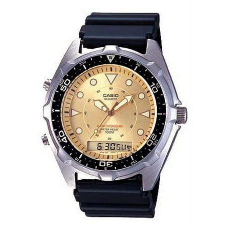 Casio Mens Casual Ana Digi Gold Dial Sports Watch Black