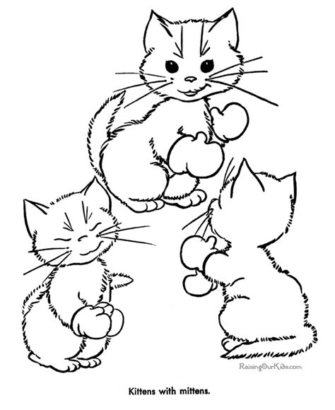 Cat and Kitten coloring sheets Raising Our Kids