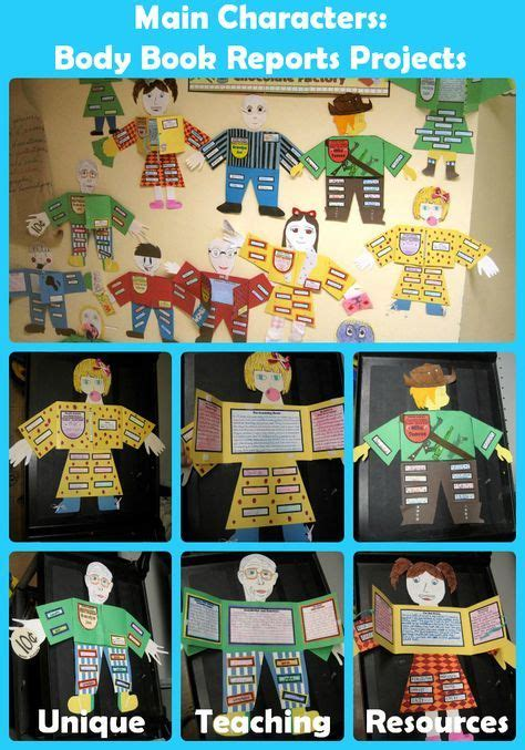 Character Body Book Report Project templates worksheets