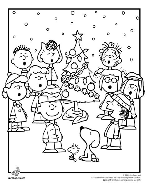 Charlie Brown Christmas Coloring Pages with the Peanuts