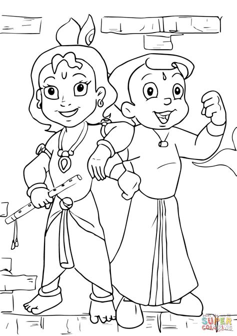 Chhota Bheem and Krishna coloring page Free Printable