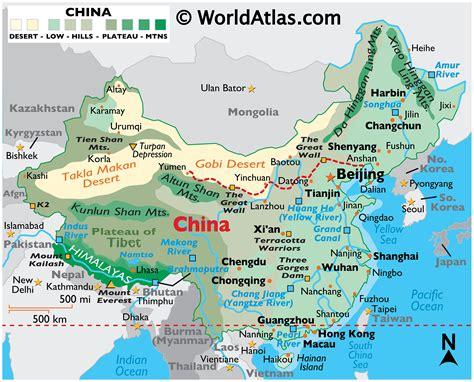 China Large Color Map Worldatlas