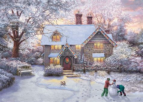 Christmas Cottage Painting