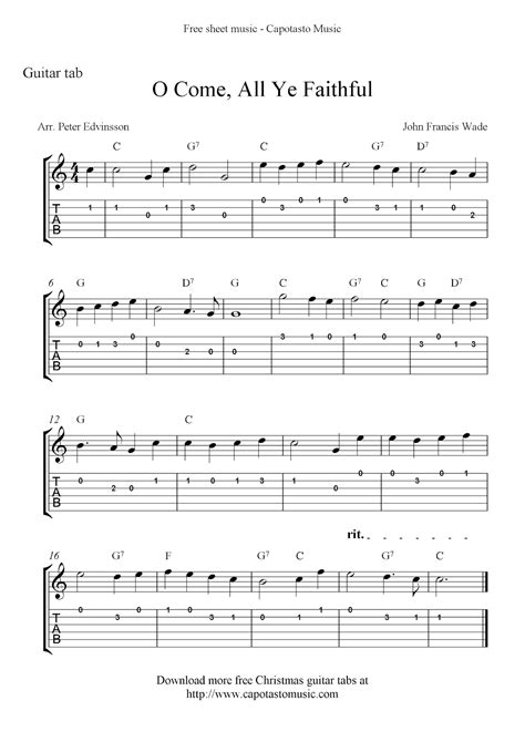 Christmas Songs free download of guitar chords and lyrics