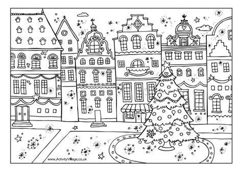 Christmas Street Colouring Page Activity Village