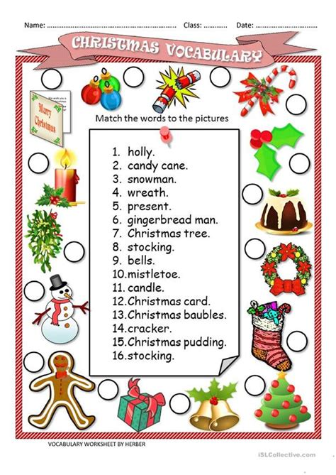 Christmas Worksheets for Kids and ESL Teachers