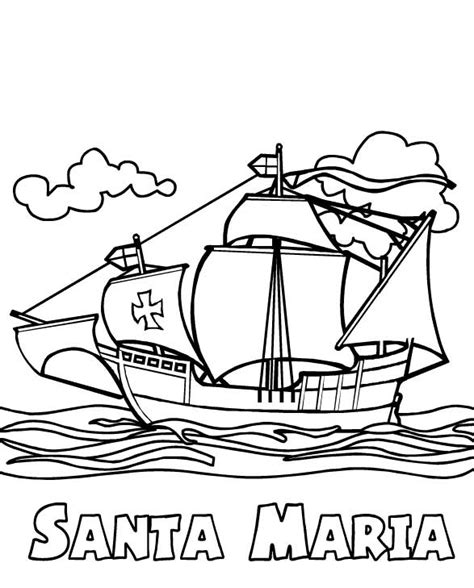 Christopher Columbus on the Santa Maria coloring page