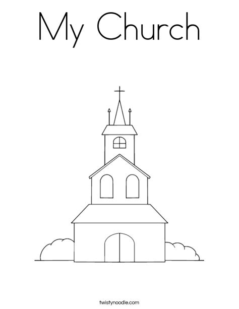 Church Coloring Page Twisty Noodle