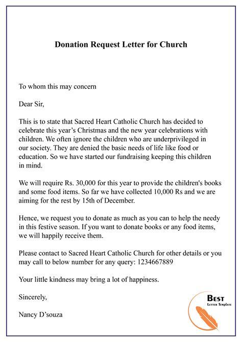 Church Donation Letter Sample Letters