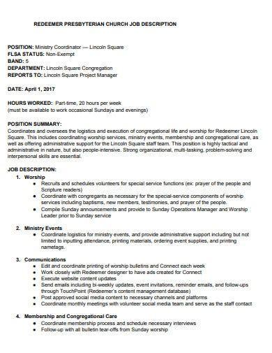 Church Job Descriptions Free Church Forms