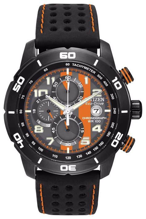Citizen Men s Eco Drive Orange and Black Chronograph Watch