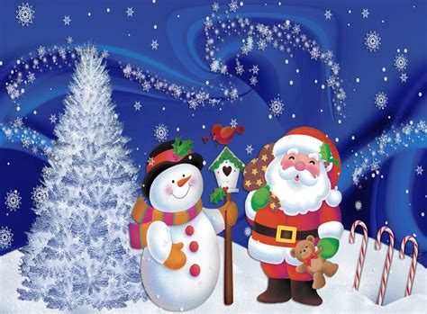 Color a Snowman and Christmas Tree with Santa Claus