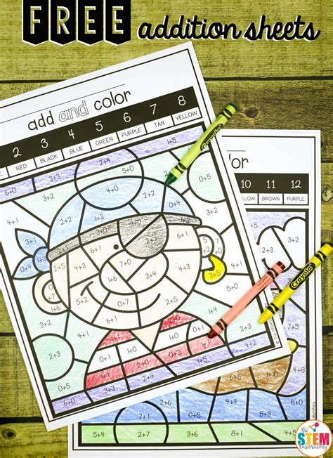 Color by Code Addition Sheets The Stem Laboratory