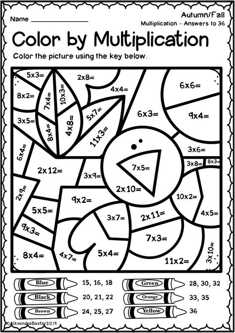 Color by Multiplication Printables Worksheets and Lessons