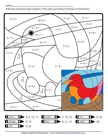 Color by Number Worksheets Super Teacher Worksheets