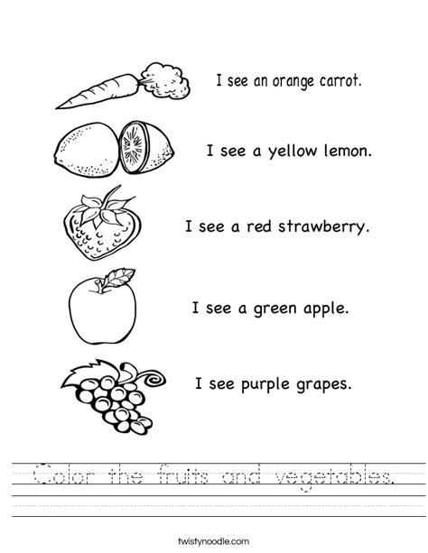 Color the fruits and vegetables Worksheet Twisty Noodle