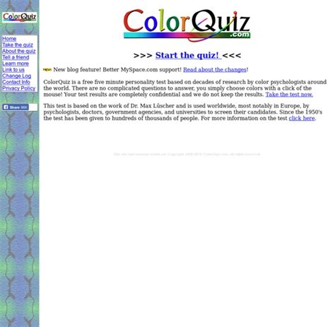 ColorQuiz The free five minute personality test