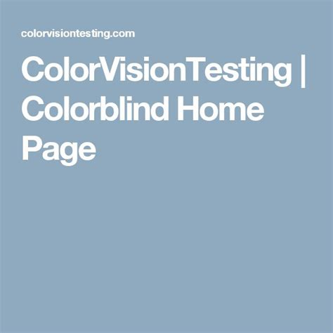 ColorVisionTesting Colorblind Home Page