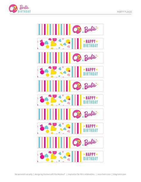Colorful Barbie STYLE Birthday Party Free Printables