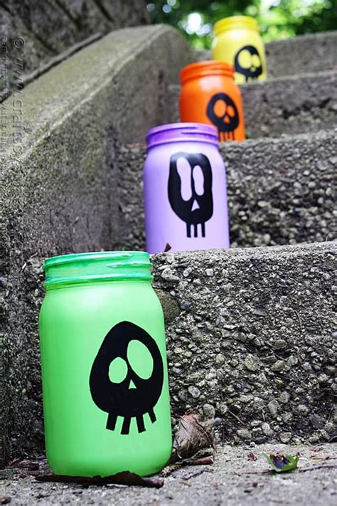 Colorful Skull Luminaries for Halloween Crafts by Amanda