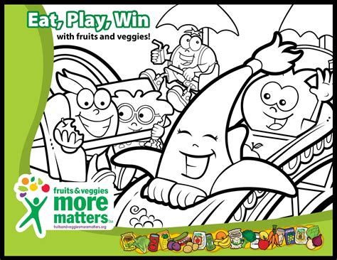 Coloring Activity Pages for Kids Fruits Veggies More