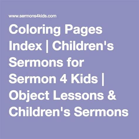 Coloring Pages Index Children s Sermons for Sermon 4