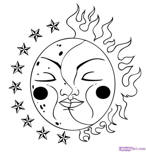 Coloring Pages Stars Sun Moon Drawing Morning Kids