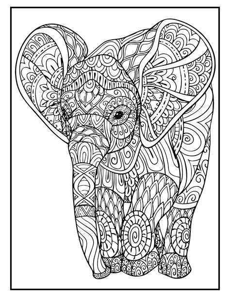 Coloring page elephant Etsy