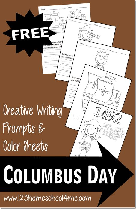 Columbus Day Coloring Sheets Writing Prompts
